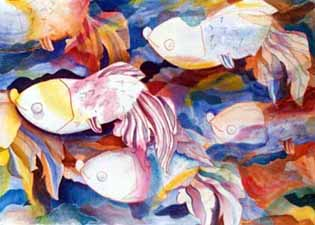Abtract fish painting
