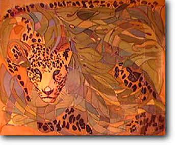 Jungle Cat, on silk, by Phillippa Lack